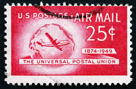 upu: UNITED STATES OF AMERICA - CIRCA 1949: a stamp printed in the USA shows Boeing Stratocruiser and Globe, 75th Anniversary of the UPU, circa 1949