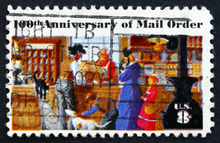 mail order: USA - CIRCA 1972: a stamp printed in the USA shows Rural Post Office Store, Centenary of Mail Order Business Originated by Aaron Montgomery Ward, Chicago, circa 1972