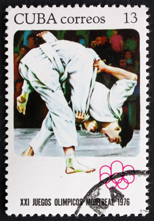 summer olympics: CUBA - CIRCA 1976: a stamp printed in the Cuba shows Judo, Summer Olympics, Montreal, circa 1976