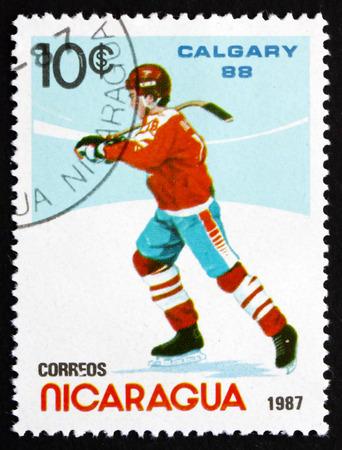 NICARAGUA - CIRCA 1987: a stamp printed in Nicaragua shows Ice Hockey, 19881 Winter Olympics, Calgary, Canada, circa 1987
