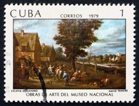genre: CUBA - CIRCA 1979: a stamp printed in the Cuba shows Genre Scene, Painting by David Teniers, National Museum, circa 1979