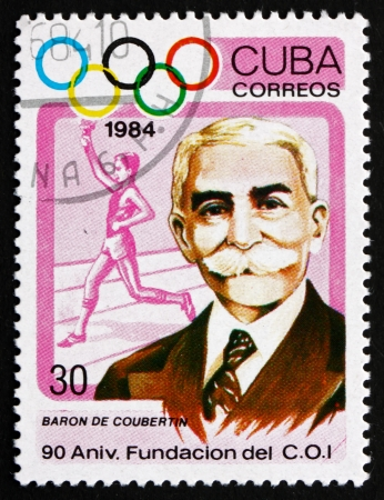 coubertin: CUBA - CIRCA 1984: a stamp printed in the Cuba shows Pierre de Coubertin, Educator, Historian, Founder of the International Olympic Committee, 90th Anniversary, circa 1984