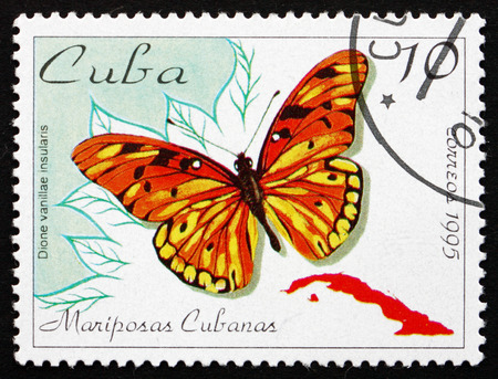 dione: CUBA - CIRCA 1995: a stamp printed in the Cuba shows Gulf Fritillary or Passion Butterfly, Agraulis Vanillae, Butterfly, circa 1995 Editorial
