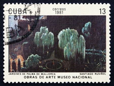 CUBA - CIRCA 1981: a stamp printed in the Cuba shows Gardens, Palma de Mallorca, Painting by Santiago Rusinol Prats, National Museum, circa 1981