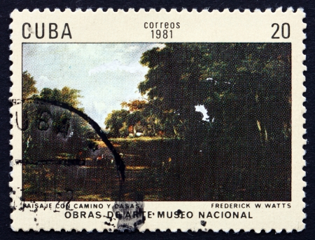 watts: CUBA - CIRCA 1981: a stamp printed in the Cuba shows Landscape with Roadway and Houses, Painting by Frederick Waters Watts, National Museum, circa 1981