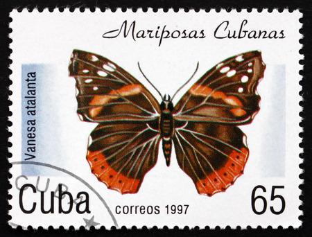cuba butterfly: CUBA - CIRCA 1997: a stamp printed in the Cuba shows Red Admiral, Vanesa Atalanta, Butterfly, circa 1997