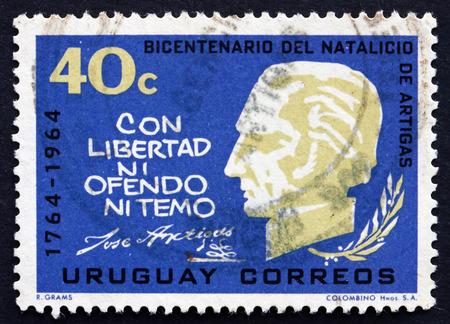 artigas: URUGUAY - CIRCA 1965: a stamp printed in the Uruguay shows Jose Gervasio Artigas Arnal National Hero of Uruguay, General and Patriot, circa 1965