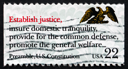 preamble: UNITED STATES OF AMERICA - CIRCA 1987: a stamp printed in the USA shows Preamble, US Constitution, Drafting of the Constitution Bicentennial, Establish Justice, circa 1987
