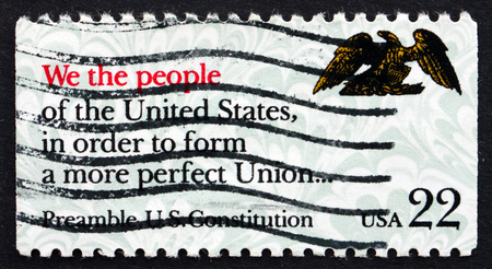 preamble: UNITED STATES OF AMERICA - CIRCA 1987: a stamp printed in the USA shows Preamble, US Constitution, Drafting of the Constitution Bicentennial, We the People, circa 1987