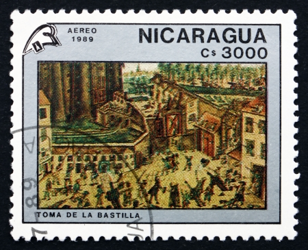 storming: NICARAGUA - CIRCA 1989: a stamp printed in Nicaragua shows Storming the Bastille, Painting by Claude Cholat, French Revolution, Bicentennial, circa 1989 Editorial