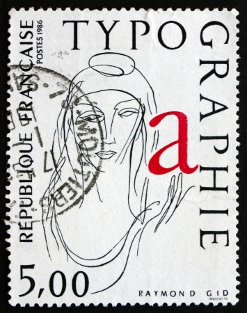 FRANCE - CIRCA 1986: a stamp printed in the France shows La Marianne, Typograph by Raymond Gid, circa 1986 Editorial