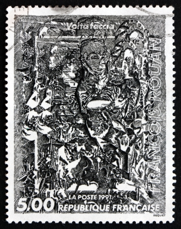 volte: FRANCE - CIRCA 1991: a stamp printed in the France shows Volte Faccia, Painting by Francois Rouan, circa 1991 Editorial
