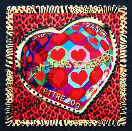 FRANCE - CIRCA 2006: a stamp printed in the France shows Hearts, Octagons and Diamonds, Valentine�s Day, Heart, circa 2006