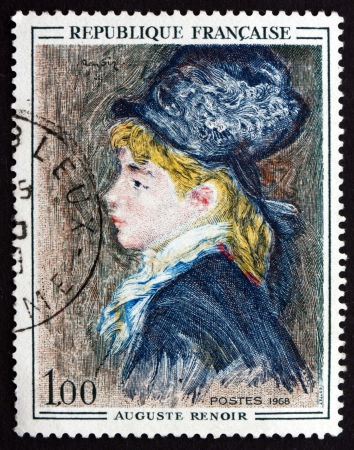 FRANCE - CIRCA 1968: a stamp printed in the France shows Portrait of Model, Painting by Auguste Renoir, circa 1968