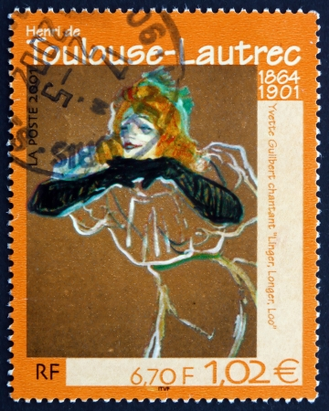 loo: FRANCE - CIRCA 2001: a stamp printed in the France shows Yvette Guilbert Singing Linger, Longer, Loo, Painting by Henry de Toulouse-Lautrec, circa 2001 Editorial