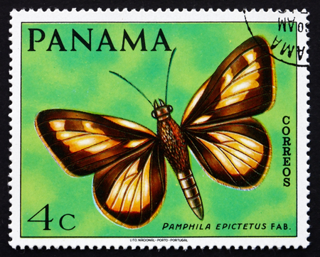 PANAMA - CIRCA 1968: a stamp printed in the Panama shows Pamphila Epictetus, Butterfly, circa 1968