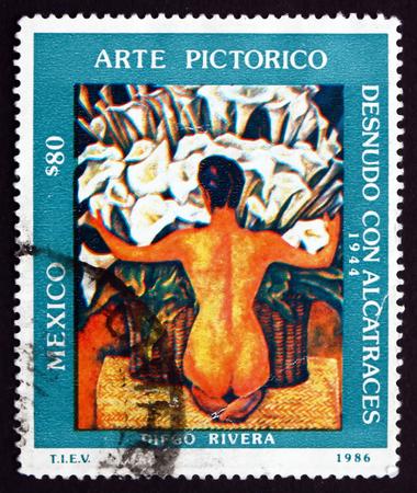 diego: MEXICO - CIRCA 1986: a stamp printed in the Mexico shows Desnudo con Alcatraces, 1944, Painting by Diego Rivera, circa 1986 Editorial