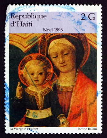 bellini: HAITI - CIRCA 1996: a stamp printed in Haiti shows The Virgin and Infant, Painting by Jacopo Bellini, Christmas, circa 1996