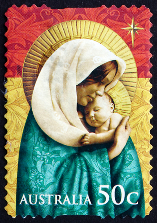 AUSTRALIA - CIRCA 2008: a stamp printed in the Australia shows Madonna and Child, Christmas, circa 2008