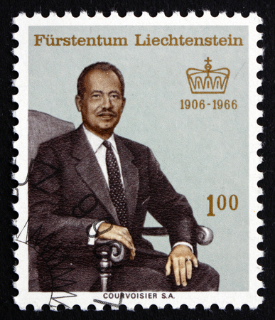 liechtenstein: LIECHTENSTEIN - CIRCA 1966: a stamp printed in the Liechtenstein shows Franz Joseph II, Prince of Liechtenstein, circa 1966 Editorial