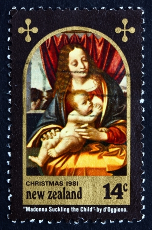 NEW ZEALAND - CIRCA 1981: a stamp printed in the New Zealand shows Madonna and Child, Painting by Marco d�Oggiono, Christmas, circa 1981