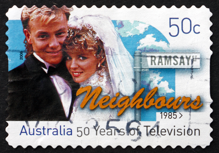 neighbours: AUSTRALIA - CIRCA 2006: a stamp printed in the Australia shows Neighbours, Television Show, 50th Anniversary of Television in Australia, circa 2006 Editorial