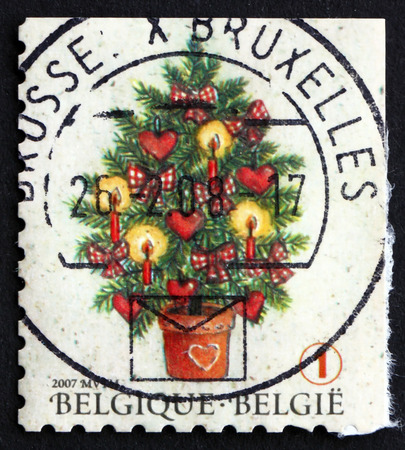 BELGIUM - CIRCA 2007: a stamp printed in the Belgium shows Christmas Tree, Christmas and New Year 2007, circa 2007