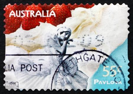 AUSTRALIA - CIRCA 2009: a stamp printed in the Australia shows Dessert Pavlova, Named after Russian Ballet Dancer Anna Pavlova, circa 2009