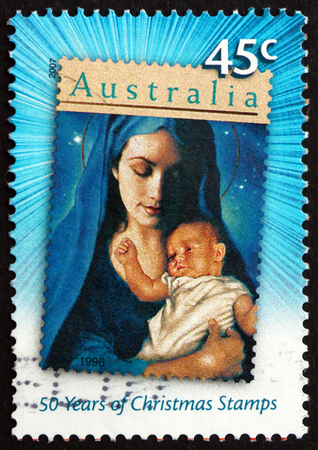 AUSTRALIA - CIRCA 2007: a stamp printed in the Australia shows Madonna and Child, Christmas, circa 2007