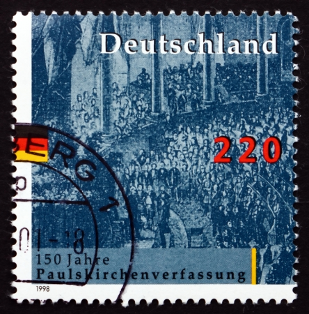 constitutional: GERMANY - CIRCA 1998: a stamp printed in the Germany shows National Assembly, St. Paul�s Church, Frankfurt, 1848, Electing pan-German Constitutional Parliament, circa 1998 Editorial
