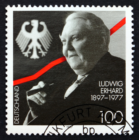west of germany: GERMANY - CIRCA 1997: a stamp printed in the Germany shows Ludwig Erhard, German Politician, Chancellor of West Germany from 1963 until 1966, circa 1997