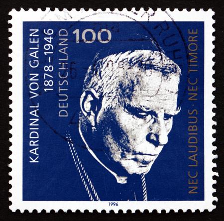 ドイツ - 1996 年頃: 1996 年頃、ローマ カトリック教会の枢機卿 Clemens 8 月グラーフ ・ フォン ・ ギャレン、ドイツで印刷されたスタンプ