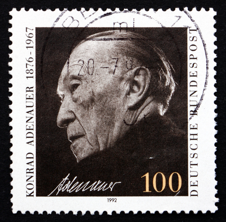 chancellor: GERMANY - CIRCA 1992: a stamp printed in the Germany shows Konrad Adenauer, German Politician, Chancellor of West Germany from 1949 until 1963, circa 1992 Editorial