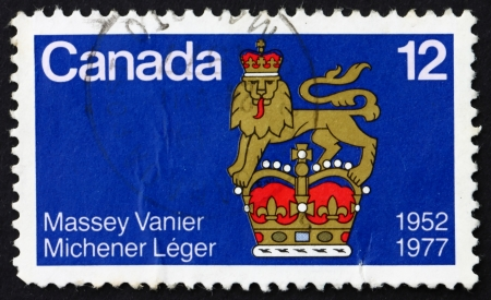 leger: CANADA - CIRCA 1977: a stamp printed in the Canada shows Names of Canadian-born Governors General and Standard, Massey, Vanier, Michener and Leger, circa 1977