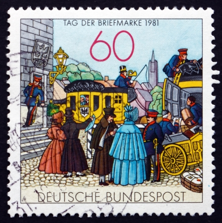 lithograph: GERMANY - CIRCA 1981: a stamp printed in the Germany shows People by Mail Coach, Lithograph, 1855, Stamp Day, circa 1981
