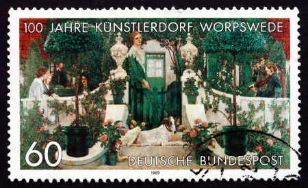 centenary: GERMANY - CIRCA 1989: a stamp printed in the Germany shows Summer Evening, Painting by Heinrich Vogler, 1905, Centenary of Worpswede Artists Village, circa 1989
