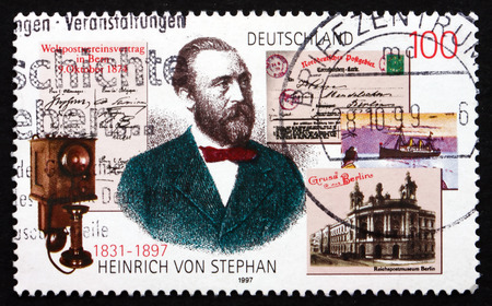 postmaster: GERMANY - CIRCA 1997: a stamp printed in the Germany shows Heinrich von Stephan, General Post Director for the German Empire, circa 1997 Editorial