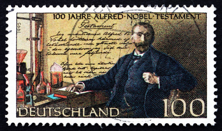 nobel: GERMANY - CIRCA 1995: a stamp printed in the Germany shows Alfred Nobel and his Last Will, Nobel Prize Fund Established, Centenary, circa 1995