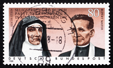 beatification: GERMANY - CIRCA 1988: a stamp printed in the Germany shows Beatification of Edith Stein and Rupert Mayer by Pope John Paul II in 1987, circa 1988