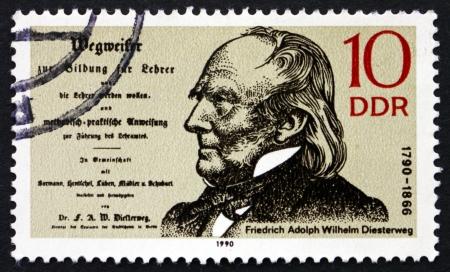 friedrich: GDR - CIRCA 1990: a stamp printed in GDR shows Friedrich Adolph Diesterweg, Educator, Thinker, Liberal Politician, circa 1990 Editorial