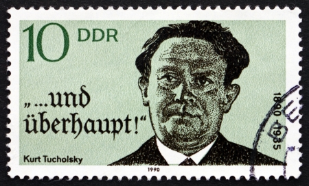 pseudonym: GDR - CIRCA 1990: a stamp printed in GDR shows Kurt Tucholsky, Novelist, Journalist, Writer, circa 1990 Editorial