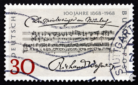 richard: GERMANY - CIRCA 1968: a stamp printed in the Germany shows Opening Bars, Die Meistersinger von Nurnberg, by Richard Wagner, Centenary of the 1st Performance, circa 1968