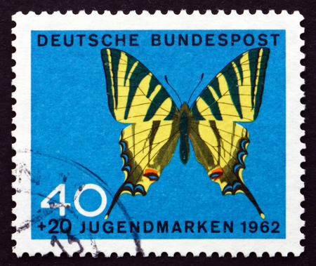 GERMANY - CIRCA 1962: a stamp printed in the Germany shows Tiger Swallowtail, Papilio Glaucus, Butterfly, circa 1962