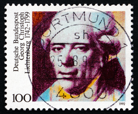 physicist: GERMANY - CIRCA 1992: a stamp printed in the Germany shows Georg Christoph Lichtenberg, Physicist, Scientist, Satirist, circa 1992