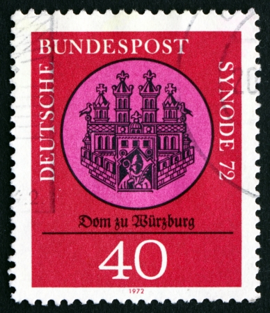 GERMANY - CIRCA 1972: a stamp printed in the Germany shows Wurzburg Cathedral, 13th Century Seal, Synod 72, Meeting of Catholic Bishoprics, Wurzburg, circa 1972