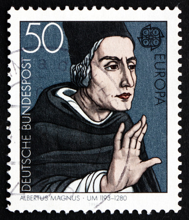 theologian: GERMANY - CIRCA 1980: a stamp printed in the Germany shows Albertus Magnus, Dominican Friar and Bishop, Philosopher and Theologian, circa 1980