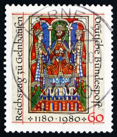 commemorate: GERMANY - CIRCA 1980: a stamp printed in the Germany shows Emperor Frederick I Barbarossa and Sons, Welf Cronicles 12th Century, Imperial Diet of Geinhausen, 800th Anniversary, circa 1980