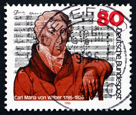 weber: GERMANY - CIRCA 1986: a stamp printed in the Germany shows Carl Maria von Weber, Composer and Pianist, Mass in E-flat Major, circa 1986