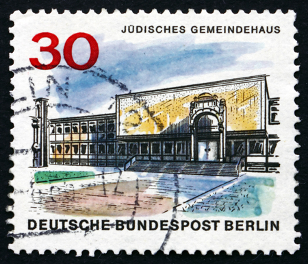 jewish community: GERMANY - CIRCA 1966: a stamp printed in the Germany, Berlin shows Jewish Community Center, The New Berlin, circa 1966