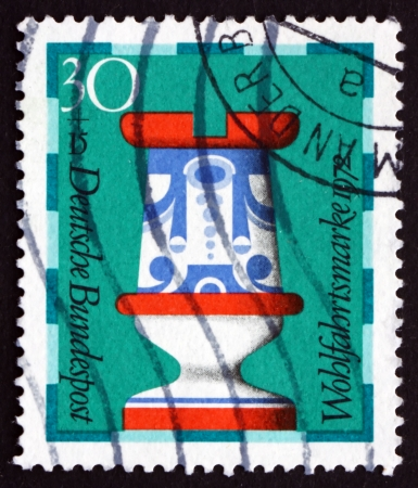 faience: GERMANY - CIRCA 1972: a stamp printed in the Germany, Berlin shows Rook, 19th Century, Chess Piece Made by Faience Works, Hamburg Museum, circa 1972 Editorial